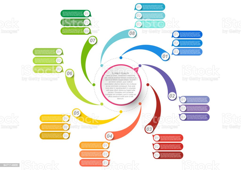 Business Data Visualization Process Chart And Abstract Elements Of