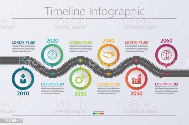 Business Data Visualization Timeline Infographic Icons Designed For Abstract Background Template - Arte vetorial de stock e mais imagens de Abstrato