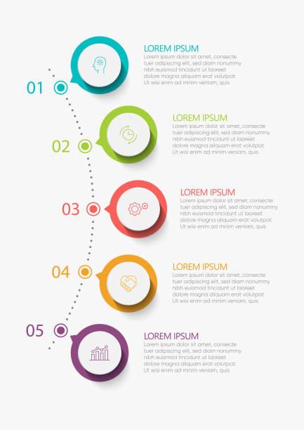 visualisierung von geschäftsdaten. zeitachsen-infografiksymbole für abstrakte hintergrundvorlagen - treppe stock-grafiken, -clipart, -cartoons und -symbole