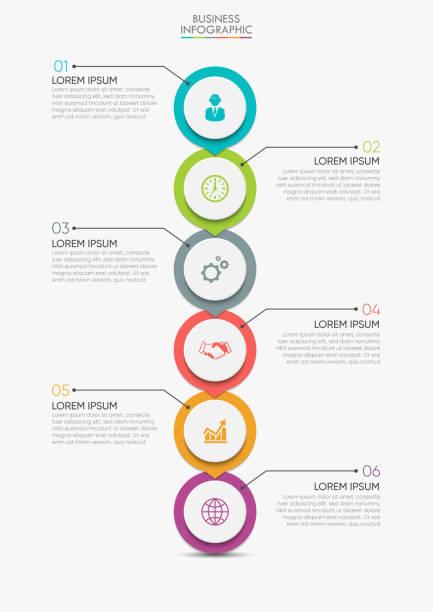 bildbanksillustrationer, clip art samt tecknat material och ikoner med visualisering av affärsdata. tidslinje infographic ikoner avsedda för abstrakt bakgrund mall - vertikal