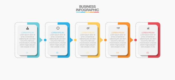 ilustrações, clipart, desenhos animados e ícones de visualização de dados de negócios. ícones infográficos da linha do tempo projetados para modelo de fundo abstrato - infographic