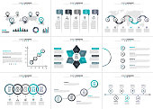 Business data visualization. Abstract elements of graph, diagram with 4, 5, 6, 7 and 8 steps, parts or processes. Vector business template for presentation. Creative concept for infographic.