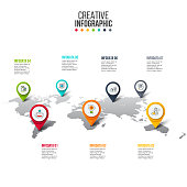 Vector map infographic. Template for global or travel presentation. Business concept with 7 options, parts, steps or processes. Timeline concept..