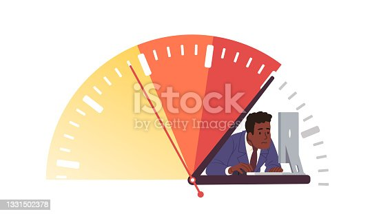 istock Business deadline overtime crunch stress concept. Business person worker or manager employee trying to get job done in due time. Overwork unhealthy frustration. Flat vector character illustration 1331502378