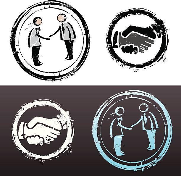 Business deal stamp vector art illustration
