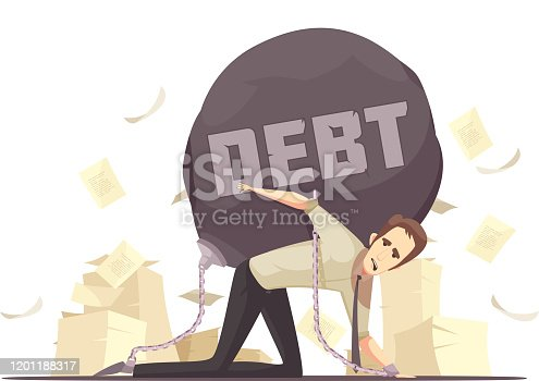 Business failure symbolic retro cartoon icon with kneeling businessmen chained to heavy debt burden vector illustration