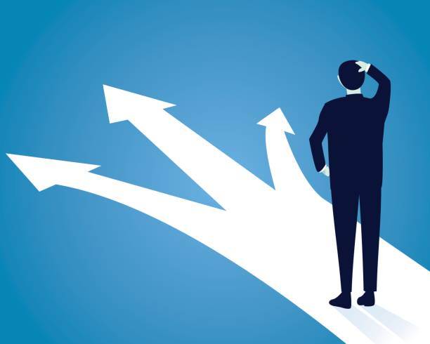 Business Decision Concept. Confuse to Choose Vector illustration. Business decision concept. Businessman confuse to choose the right direction. Future, direction development, goal, success lost stock illustrations