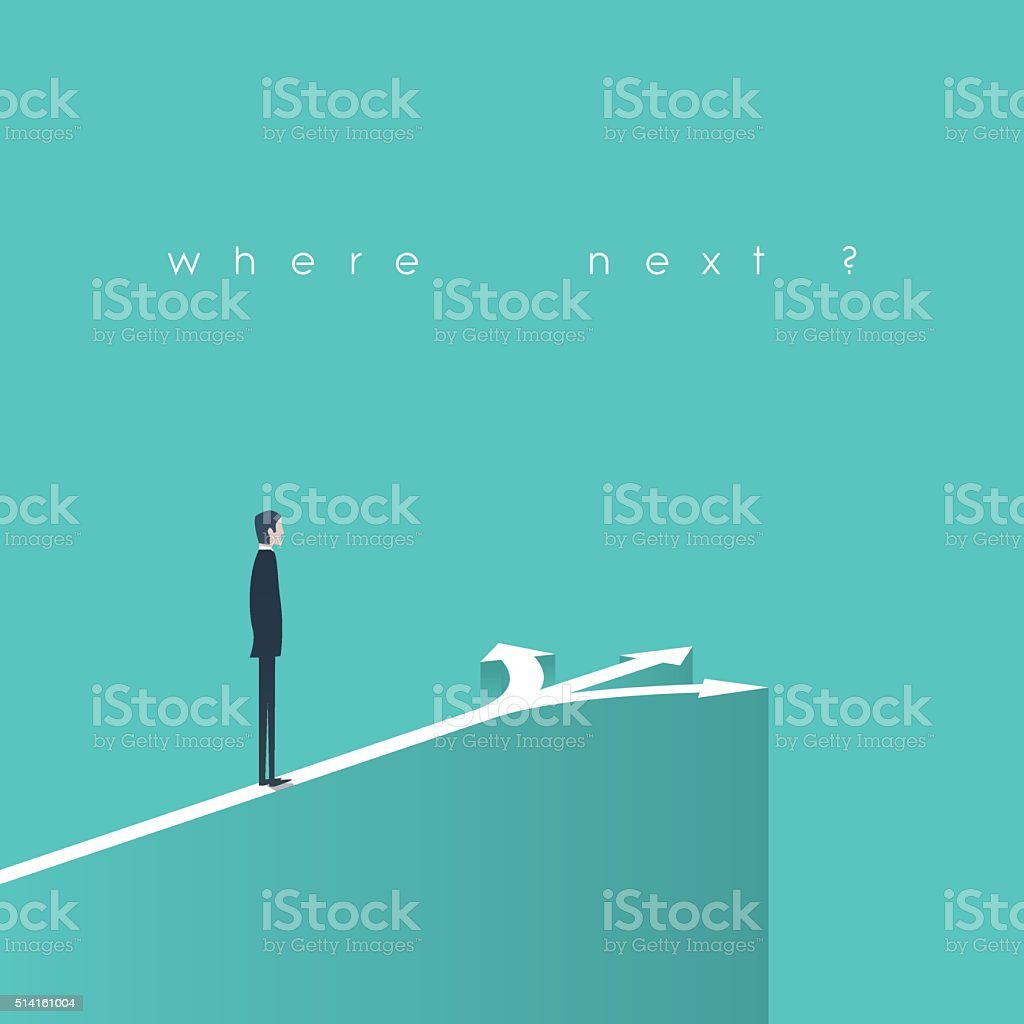 Business decision concept illustration. Businessman standing in front of arrows vector art illustration