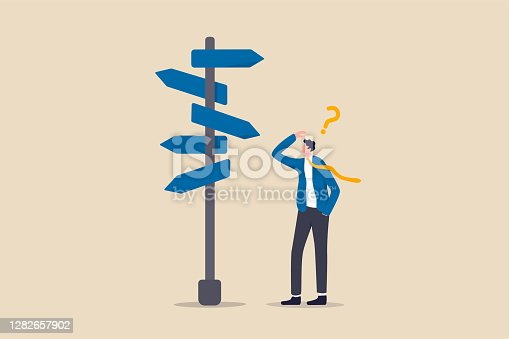 istock Business decision making, career path, work direction or leadership to choose the right way to success concept, confusing businessman manager looking at multiple road sign and thinking which way to go 1282657902
