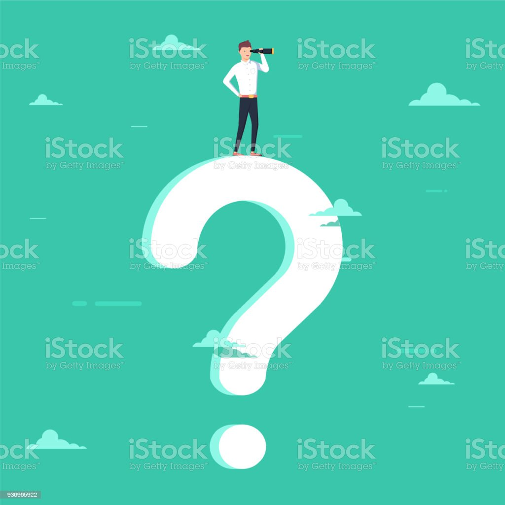 Business decision vector concept with businessman visionary standing on giant question mark. Symbol of business vision vector art illustration