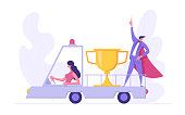 Business Delivery Success Career Goal Concept with Businesswoman Character Driving Truck Car with Prize and Super Businessman, Showing Accomplishment. Banner for Website, Web Page. Flat Vector Illustration