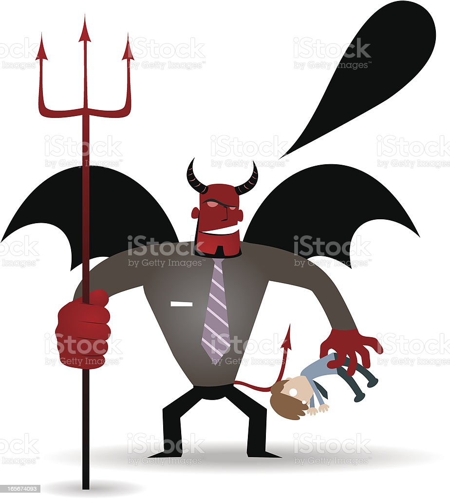 Business demon (Evil Businessman) holding trident and catching a victim royalty-free stock vector art