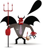 Vector illustration – Evil demon in a business suit, Business demon (Evil Businessman) holding trident and catching a victim.