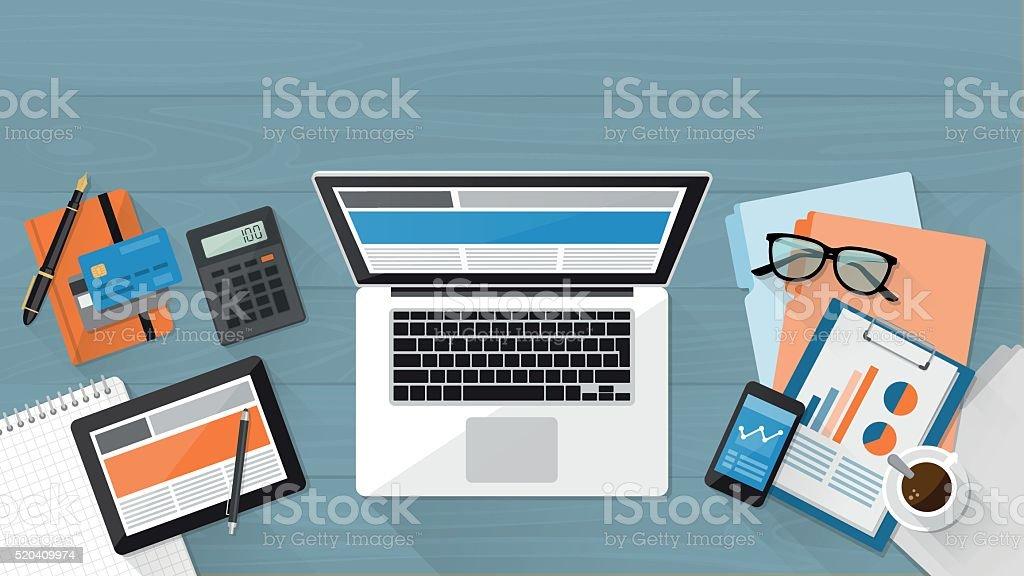 Business desktop - Royalty-free Akıllı Telefon Vector Art