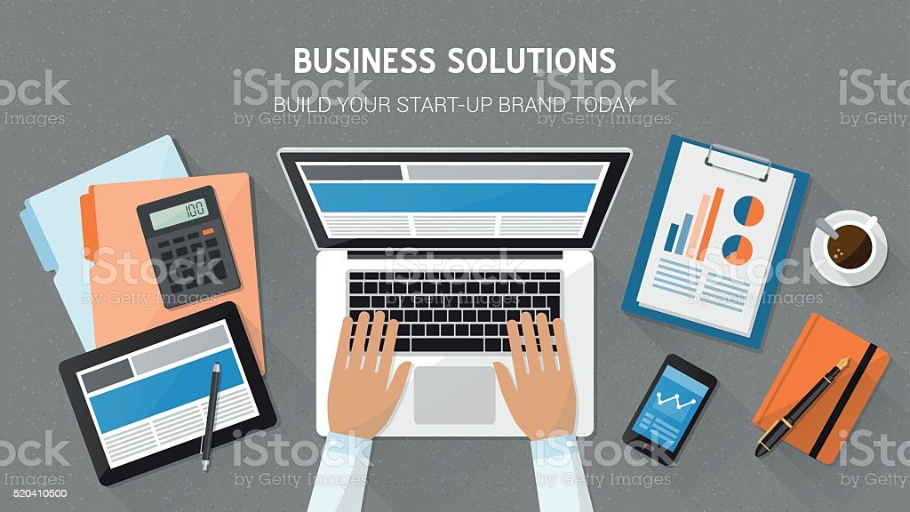 Business desktop vector art illustration