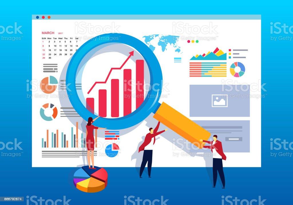 Business development and analysis vector art illustration