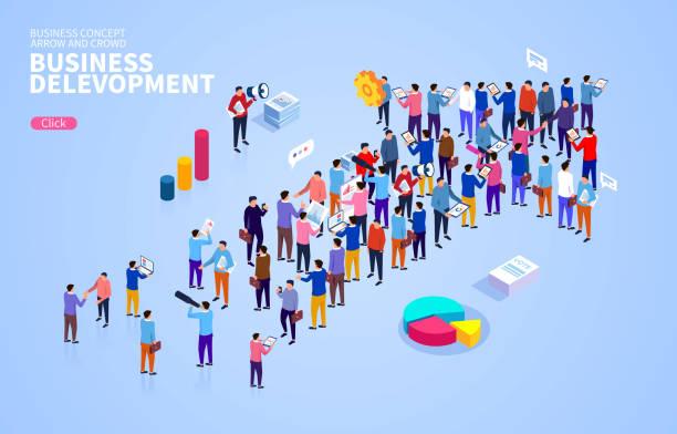Business Development Konzept, Pfeile und gesellige Zusammenkünfte – Vektorgrafik