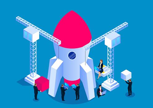 Business development concept, business team building rocket
