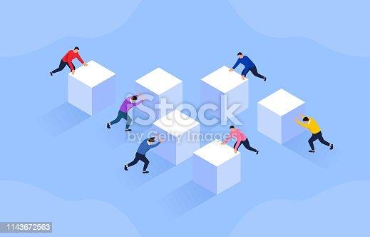 Business development concept, businessman pushes boxes together