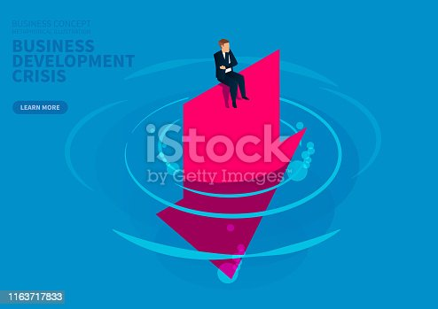 Business development deteriorates, businessman desperately sits on the arrow falling into the water