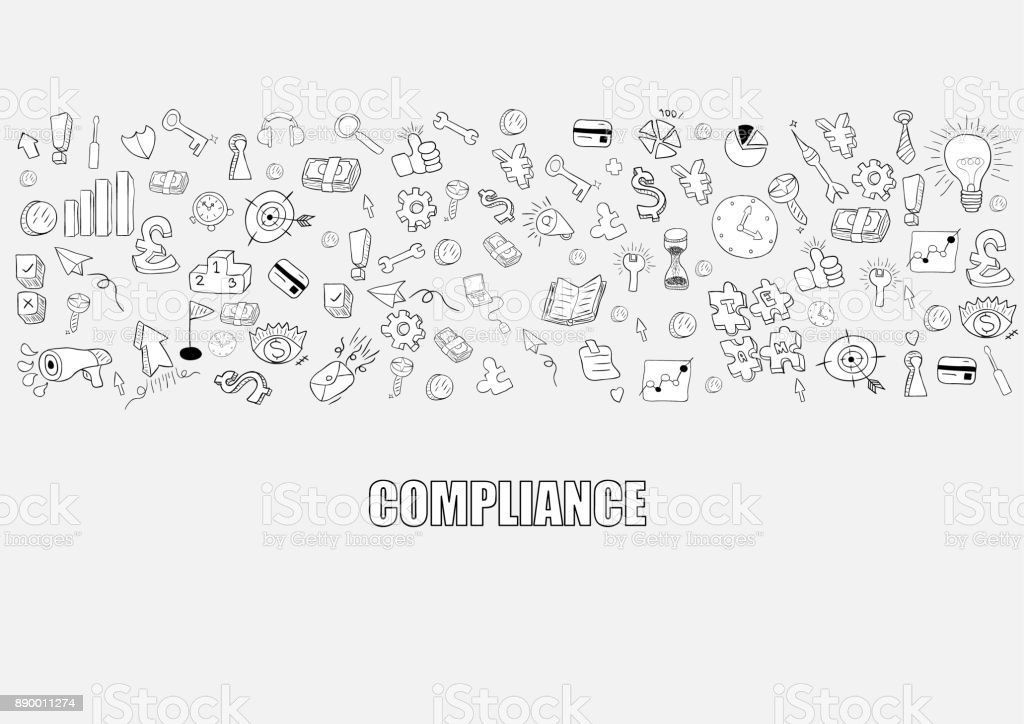 Business development doodles objects background, compliance,  drawing by hand vector vector art illustration