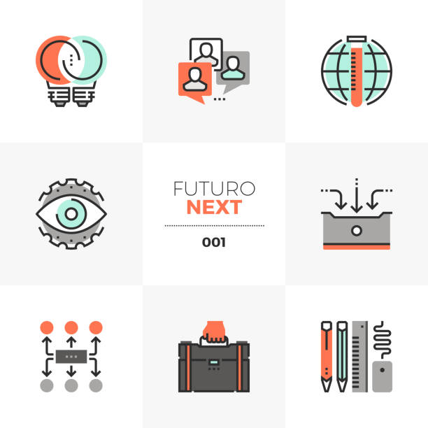 Business Development Futuro Next Icons vector art illustration