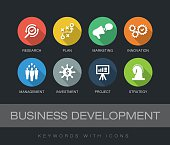 Business Development chart with keywords and icons. Flat design with long shadows