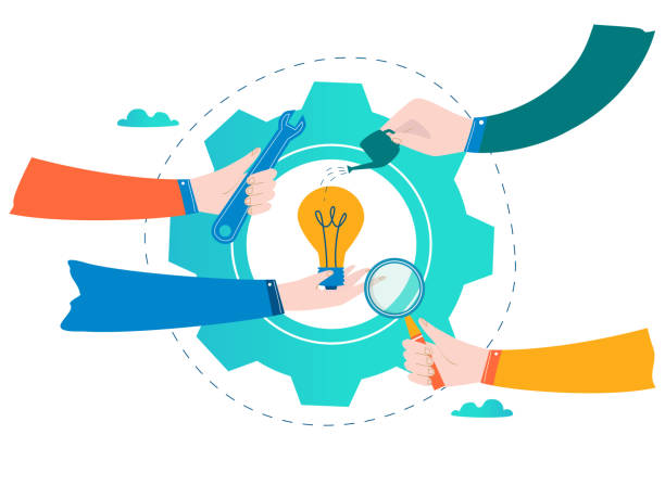 Business development, project and research, testing and improvement vector art illustration