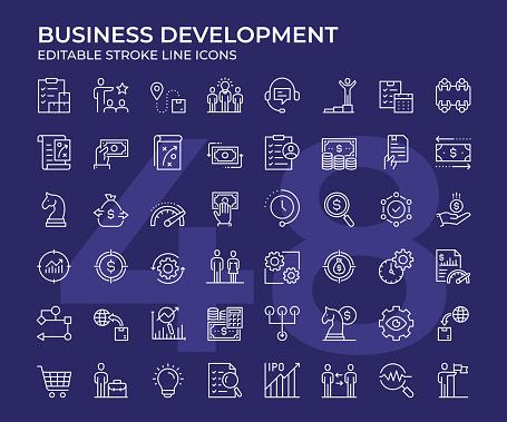 Business Development Thin Line Icon Set