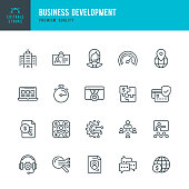 Business Development - vector line icon set. Editable stroke. Pixel perfect. Set contains such icons as Office, Development, Support, Management, Insurance, Webinar, SEO, Accountancy.