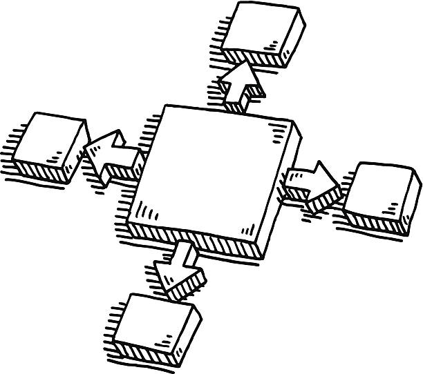 Business Diagram Blocks Arrows Outwards Drawing Hand-drawn vector drawing of a Business Diagram with Blocks and Arrows pointing Outwards. Black-and-White sketch on a transparent background (.eps-file). Included files are EPS (v10) and Hi-Res JPG. abstract 3d stock illustrations