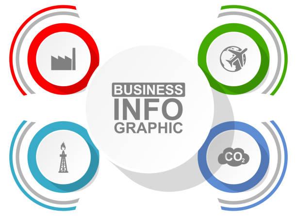 bildbanksillustrationer, clip art samt tecknat material och ikoner med affärsdiagram, vektor cirkulär infografik mall, webbpresentation i 4 alternativ - data visualization co2