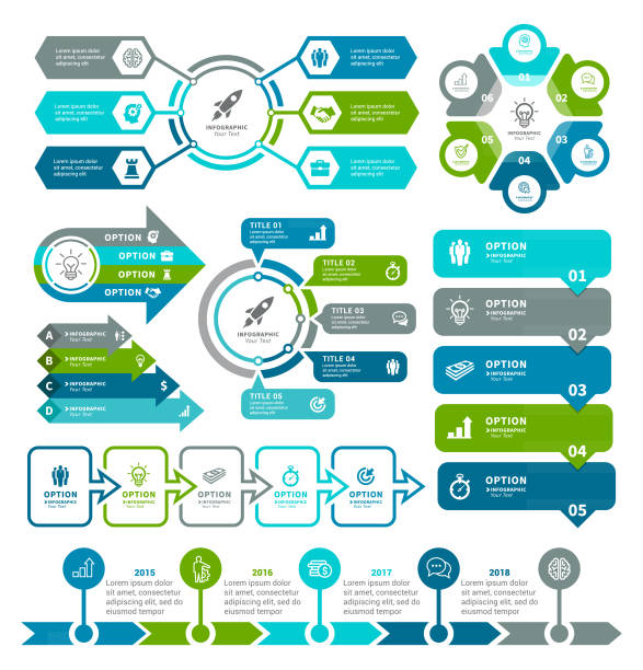 i̇ş diyagramları ve infographic öğeleri - infographic stock illustrations