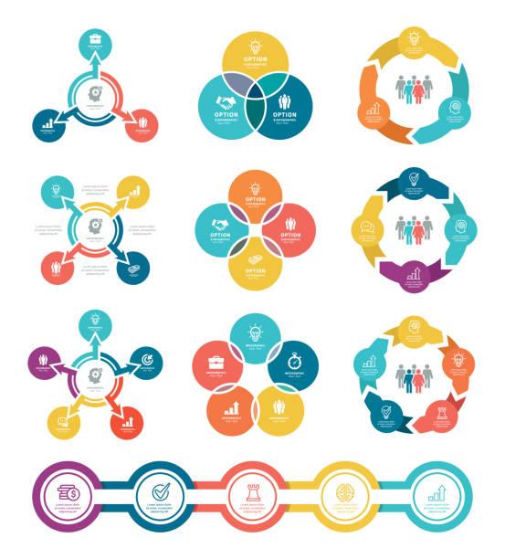 ilustraciones, imágenes clip art, dibujos animados e iconos de stock de diagramas de negocios con 3, 4, 5 pasos - social media
