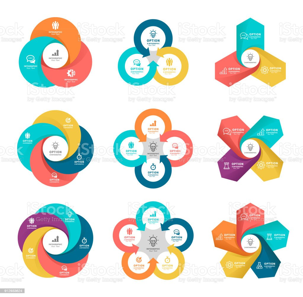 Business diagrams with 3, 4, 5 steps.