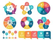 Vector illustration of the business infographic elements with 5 steps each and timeline element.