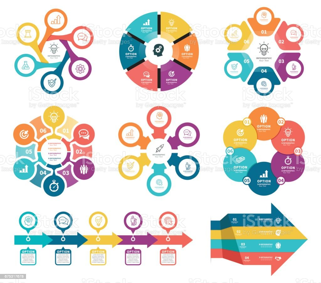 Business diagrams with 6 steps. vector art illustration