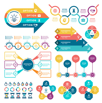 Business diagrams with steps and infographic.