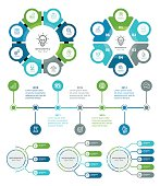 Vector illustration of the business infographic elements with steps and timeline.