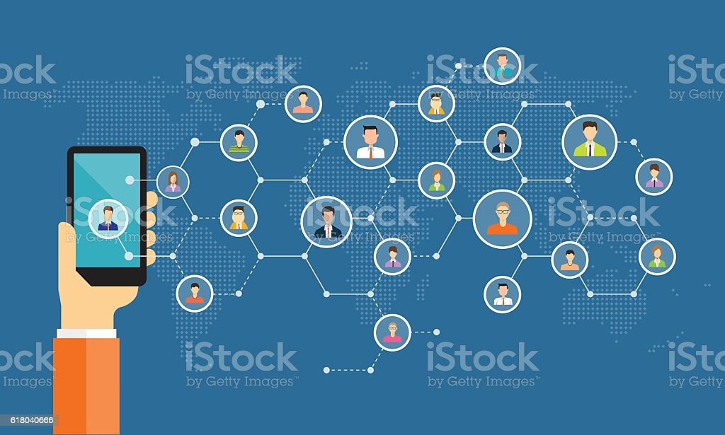 business digital marketing online connection on mobile vector art illustration