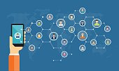 business digital marketing online connection on mobile