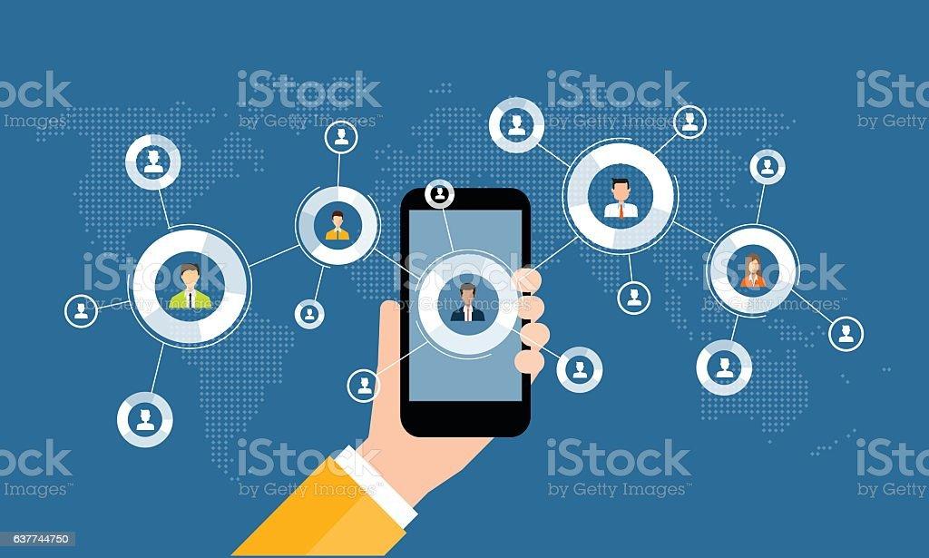business digital marketing online connection on mobile - ilustração de arte em vetor