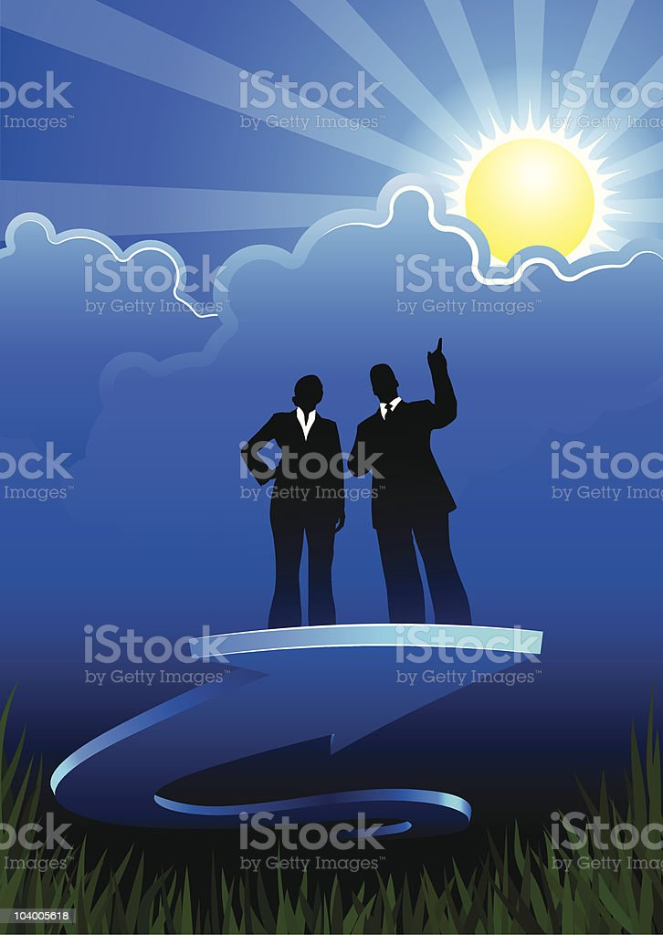 Business direction background with two people royalty-free stock vector art