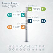 Business direction street sign concept infographic with space for your text and extra icons and symbols. EPS 10 file. Transparency effects used on highlight elements.