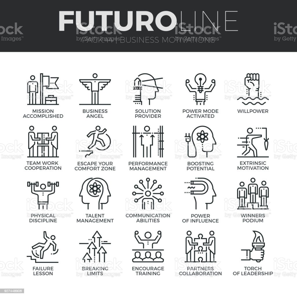 Business Discipline Futuro Line Icons Set