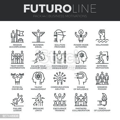 Modern thin line icons set of business discipline, performance and leadership. Premium quality outline symbol collection. Simple mono linear pictogram pack. Stroke vector  concept for web graphics.