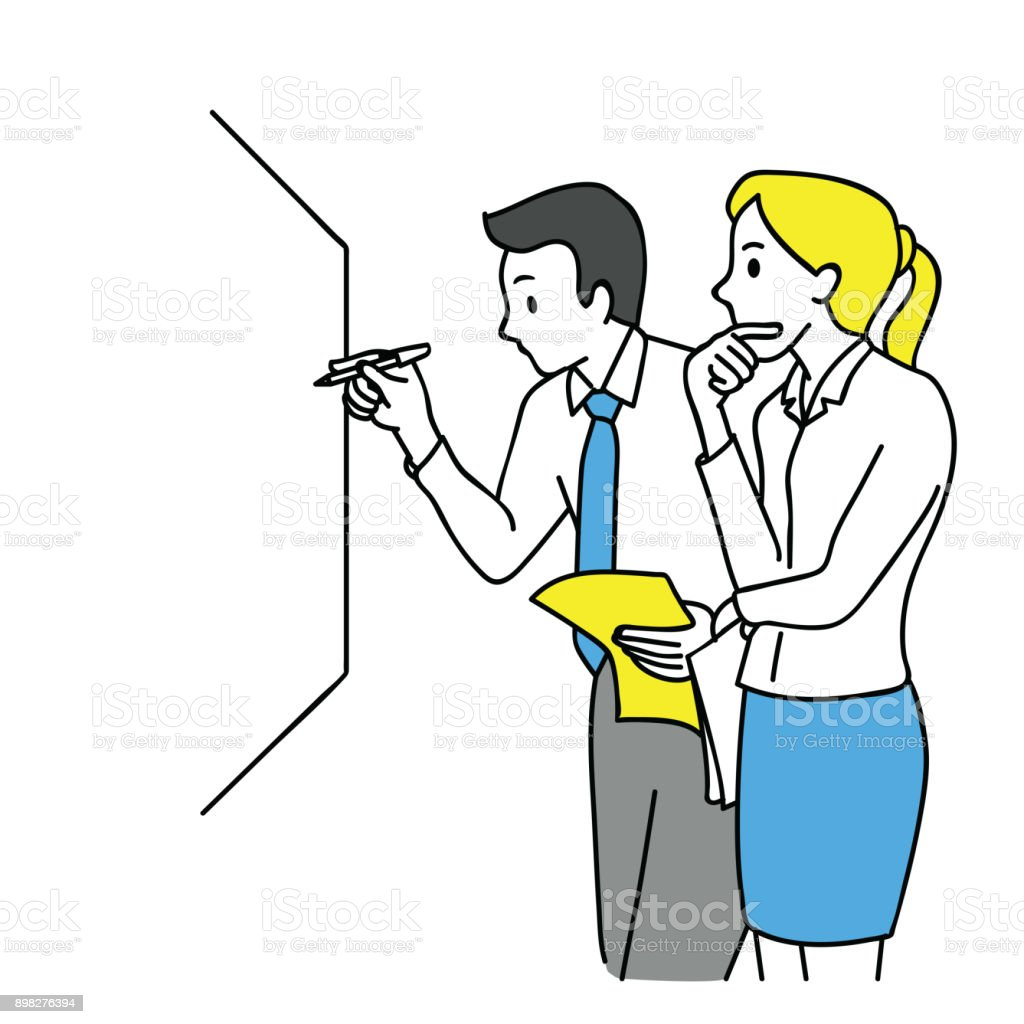 Business discussing on white board vector art illustration