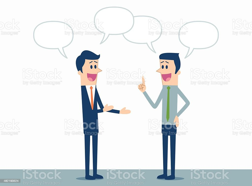 Business discussion vector art illustration