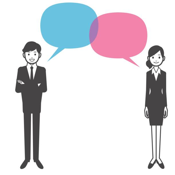 business discussion - two people talking stock illustrations, clip art, cartoons, & icons