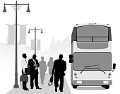 A vector silhouette illustration of a double decker bus pulled up to a curb with business men in suits waiting along the sidewalk adorned with lamp posts.This file is to be used for batch editing. It can contain active and deleted keywords. Pasting this file data will update and delete keywords accordingly.